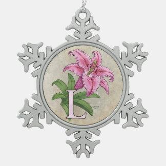Ornement Flocon De Neige L pour le monogramme d'alphabet de fleur de lis