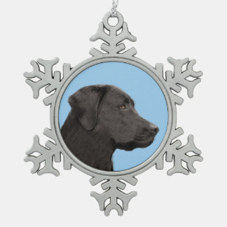 Ornement Flocon De Neige Labrador retriever (noir)