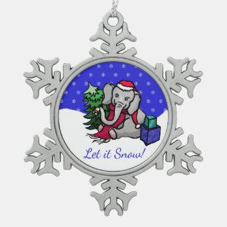 Ornement Flocon De Neige Laissez lui neiger Noël mignon d'éléphant de Père