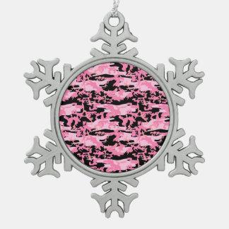 Ornement Flocon De Neige L'armée, Camo, militaires modèlent - le noir rose