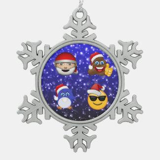 Ornement Flocon De Neige Le père noël, dunette, pingouin et cadeau d'Emoji