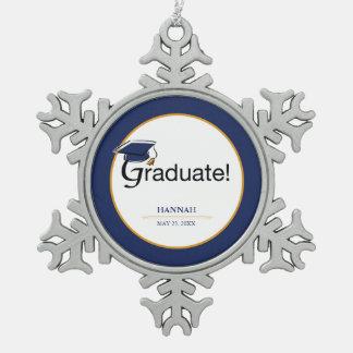 Ornement Flocon De Neige Les félicitations reçoivent un diplôme, casquette,