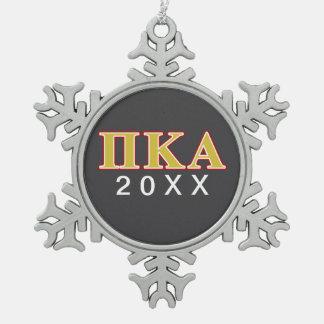 Ornement Flocon De Neige Lettres de rouge et d'or de Kappa de pi alpha