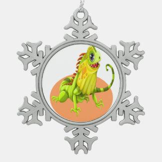 Ornement Flocon De Neige Lézard heureux vert adorable d'iguane de nature