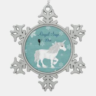 Ornement Flocon De Neige Licorne et fée blanches magiques personnalisées