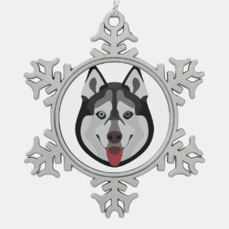Ornement Flocon De Neige L'illustration poursuit le chien de traîneau