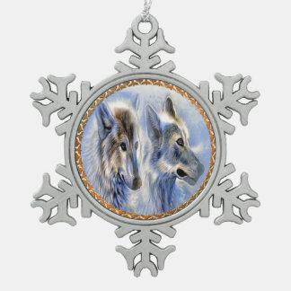 Ornement Flocon De Neige Loups bleus et blancs de glace recherchant le
