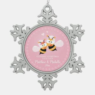 Ornement Flocon De Neige M. et Mme mignons Honey Bee First Christmas