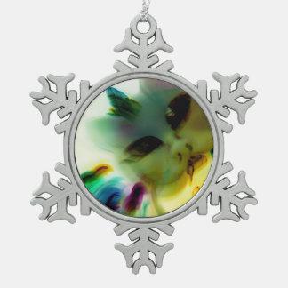 Ornement Flocon De Neige Madame folle Pewter Snowflake Ornament de chat