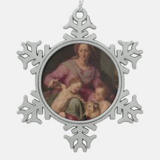 Ornement Flocon De Neige Madonna et enfant avec St John le baptiste