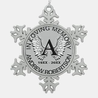 Ornement Flocon De Neige Mémorial argenté fait sur commande de monogramme