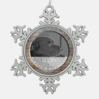 Ornement Flocon De Neige Mémorial | d'animal familier dans la mémoire de la