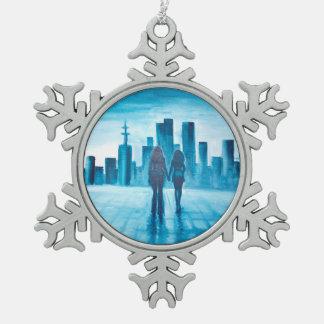 Ornement Flocon De Neige Moi et mon amour observant la ville
