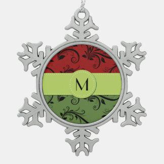 Ornement Flocon De Neige Monogramme - damassé, ornements, tourbillonne -