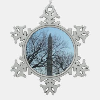 Ornement Flocon De Neige Monument de Washington en hiver je voyage