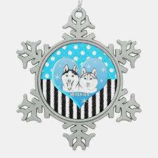 Ornement Flocon De Neige Motif bleu de chiens de traîneau