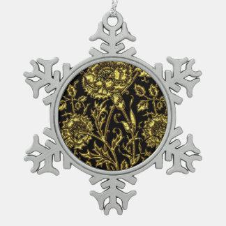 Ornement Flocon De Neige Motif coloré par or sur le noir