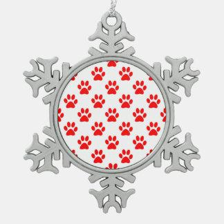 Ornement Flocon De Neige Motif rouge et blanc de pattes de chiot