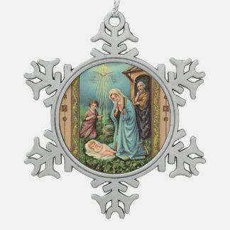 Ornement Flocon De Neige Nativité sainte Jésus Mary Joseph de famille de