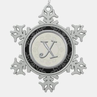 Ornement Flocon De Neige Noël argenté élégant du monogramme X