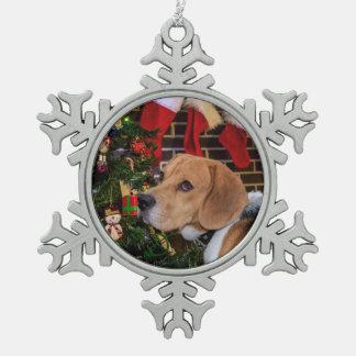 Ornement Flocon De Neige Noël de beagle