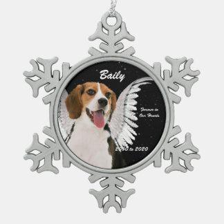 Ornement Flocon De Neige Noël de mémorial de beagle de chien d'ange