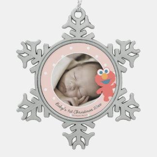 Ornement Flocon De Neige Noël du bébé d'Elmo   le premier - ajoutez votre