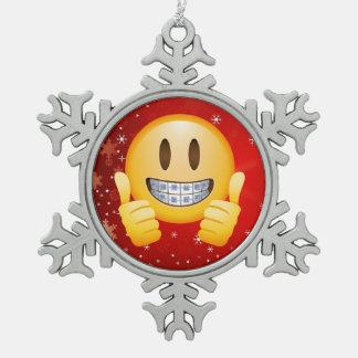 Ornement Flocon De Neige Noël Emoji de croisillons de geek font face au