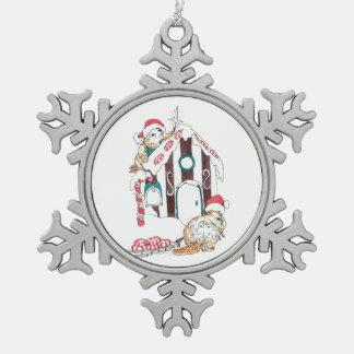 Ornement Flocon De Neige Noël mignon de chalet de castor décorant la faune