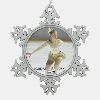 Ornement Flocon De Neige Noël personnalisé de nom de patineur de patinage