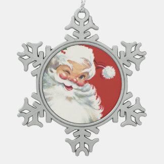 Ornement Flocon De Neige Noël vintage, cligner de l'oeil gai du père noël