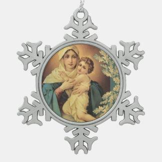 Ornement Flocon De Neige Notre Madame de bébé Jésus de Schoenstatt