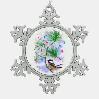 Ornement Flocon De Neige Oiseau de Chickadee dans l'aimant de flocon de