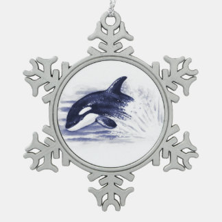 Ornement Flocon De Neige Orque ouvrant une brèche le bleu