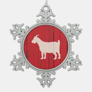 Ornement Flocon De Neige Panneau rouge en bois de grange de chèvre rustique