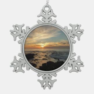 Ornement Flocon De Neige Paysage marin du coucher du soleil I la Californie