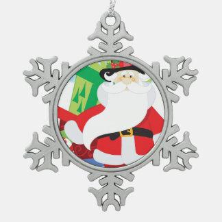 Ornement Flocon De Neige père Noël dans le tophat par la pile de presentts