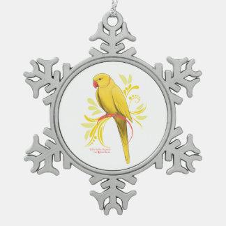 Ornement Flocon De Neige Perroquet jaune de Ringneck d'Indien