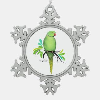 Ornement Flocon De Neige Perroquet vert de Ringneck d'Indien