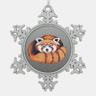 Ornement Flocon De Neige Petit panda rouge sur le gris