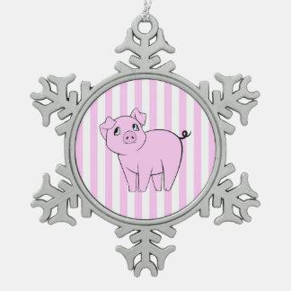 Ornement Flocon De Neige Petit porcin mignon, porc de bébé - noir rose