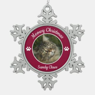 Ornement Flocon De Neige Photo mignonne de chat de Noël de Meowy avec le