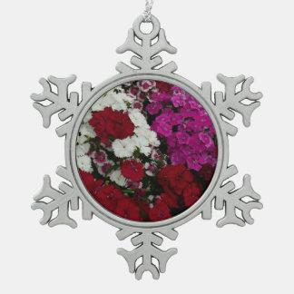 Ornement Flocon De Neige Photographie florale d'oeillet blanc, rose et