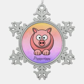 Ornement Flocon De Neige PiggyWiggy peu de porcelet mignon en pastel de