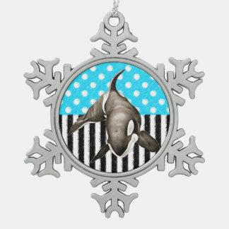 Ornement Flocon De Neige Point de polka bleu d'orque