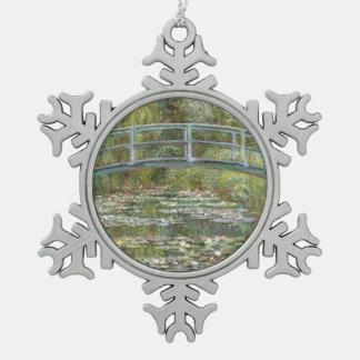 Ornement Flocon De Neige Pont au-dessus d'un étang des nénuphars par Claude