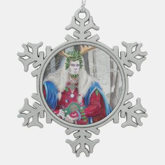 Ornement Flocon De Neige Portrait de détail du roi celtique de houx
