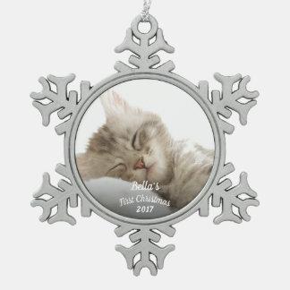 Ornement Flocon De Neige Premier Noël du chaton avec le nom + année