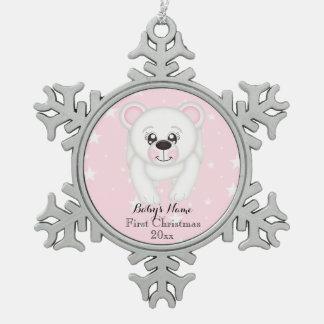 Ornement Flocon De Neige Premier rose d'ours blanc de Noël de bébé