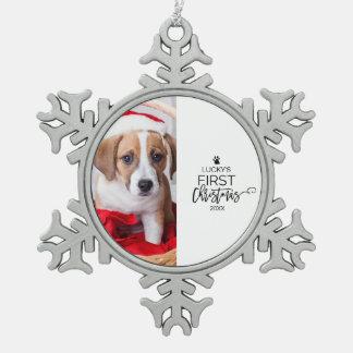 Ornement Flocon De Neige Premières vacances de photo de Noël de l'animal